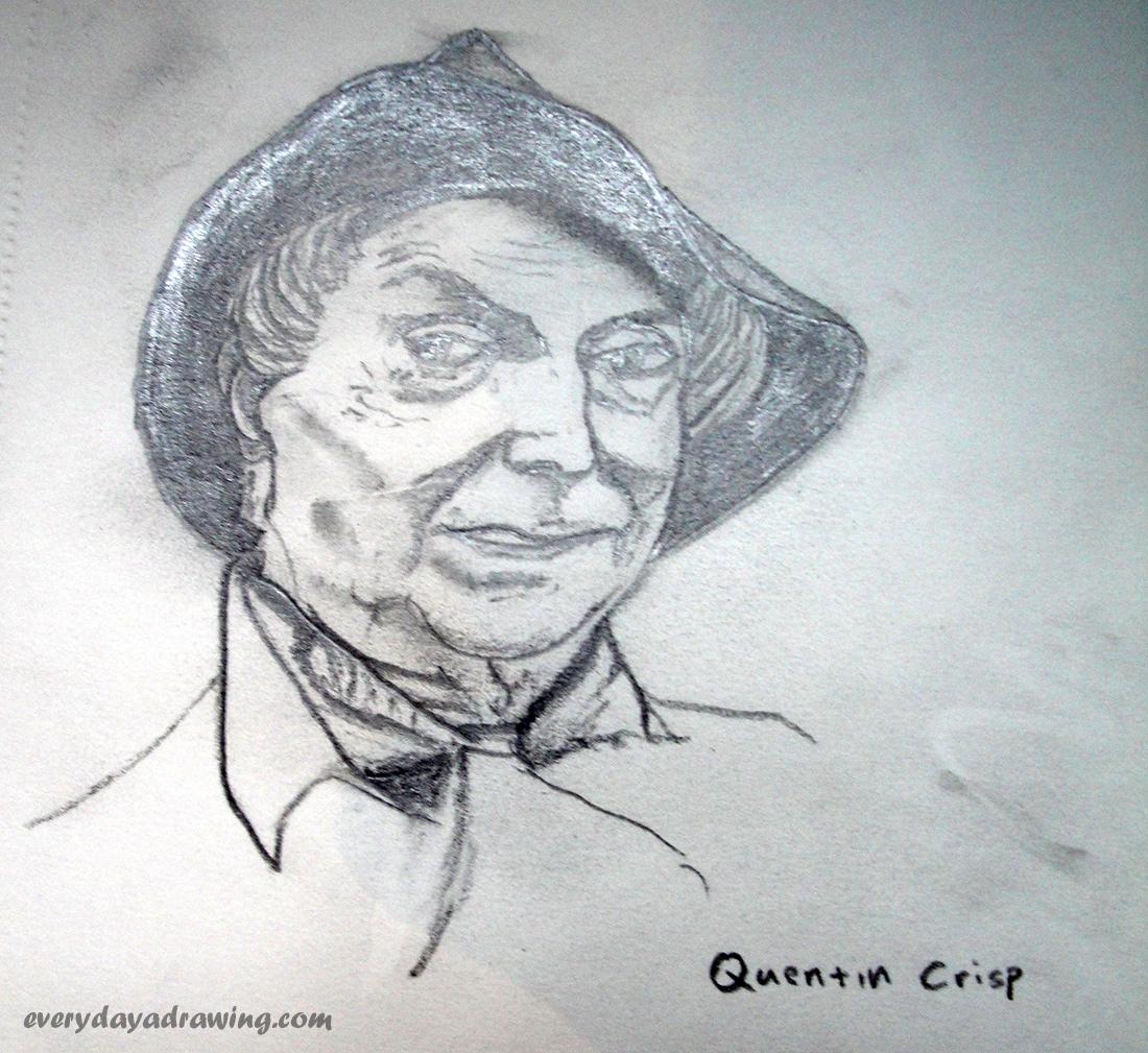 Quentin Crisp Pencil Drawing