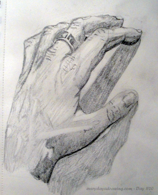 A drawing in pencil of my hand