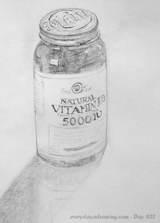 Vitamin D Bottle drawn in pencil