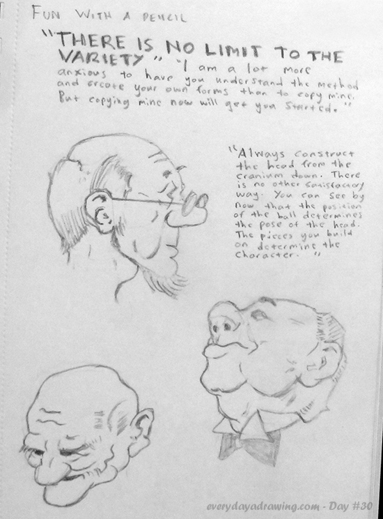 The seventh day of drawing along with Andrew Loomis's book Fun with a Pencil