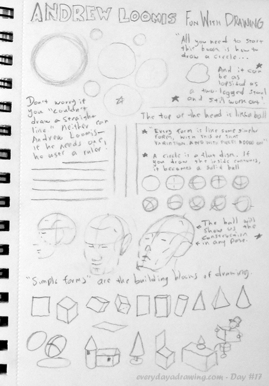 First page of my sketchbook following 'Fun with a pencil' by Andrew Loomis