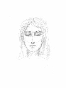 rough sketch lady with eyes closed every day a drawing