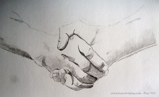 A pencil drawing of a handshake copied from an upside down reference