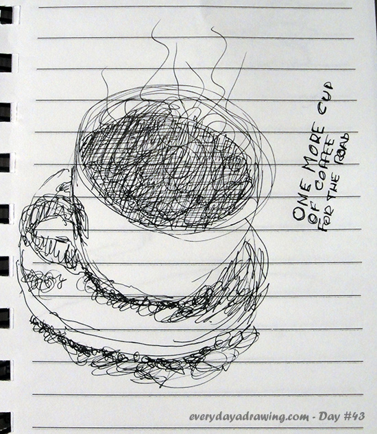 A cup of coffee drawn in pen