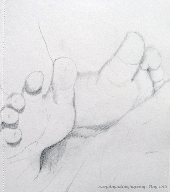 A pencil drawing of some tiny baby feet