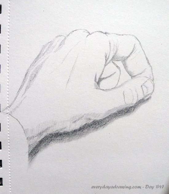 Drawing of my hand Thumb touching forefinger