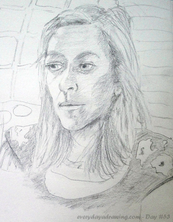 Drawing of my sister Fiona, drawn from life while she was visiting