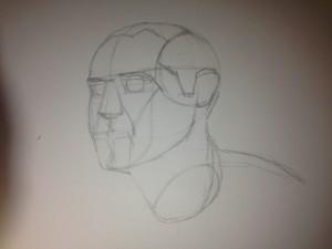 Prep sketch for portrait