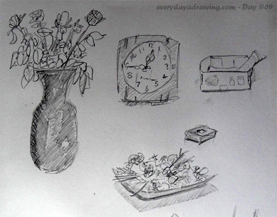 Pencil Drawings of Vase and other objects