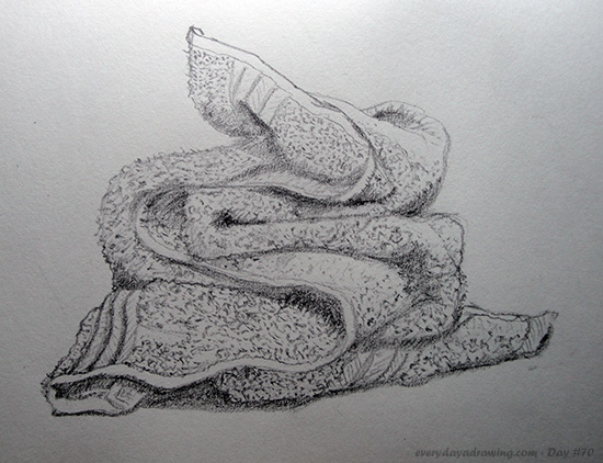 Drawing of a folded tea-towel