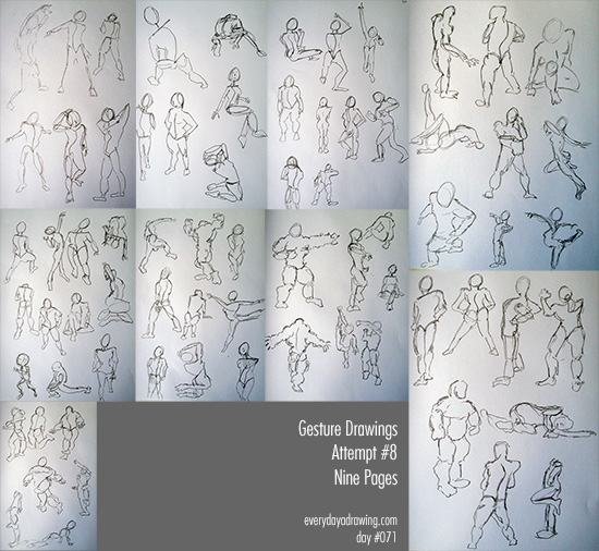 9 pages of Gesture Drawings