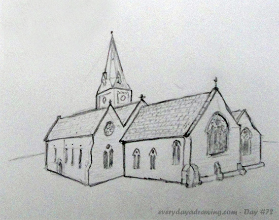 Pencil Drawing of a Church