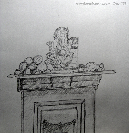 Drawing of the mantelpiece in my office