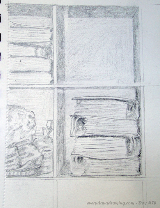 Pencil Drawing of my Shelves Part 1