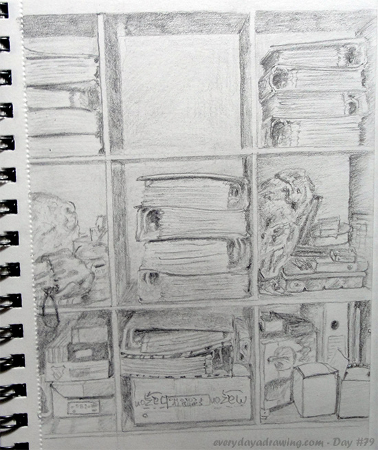 Finished pencil drawing of my office shelves