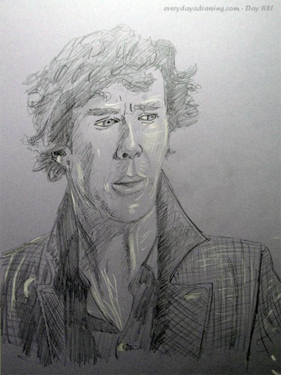 Drawing of Benedict Cumberbatch as Sherlock