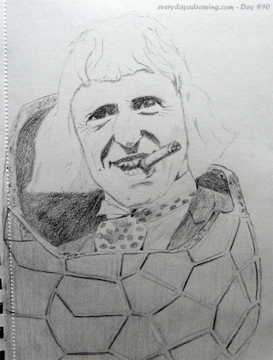 Drawing of Sir Jimmy Savile emeging from an Easter Egg