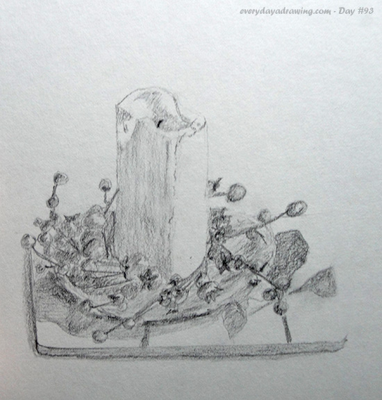 Drawing of a candle on a plate on a place mat