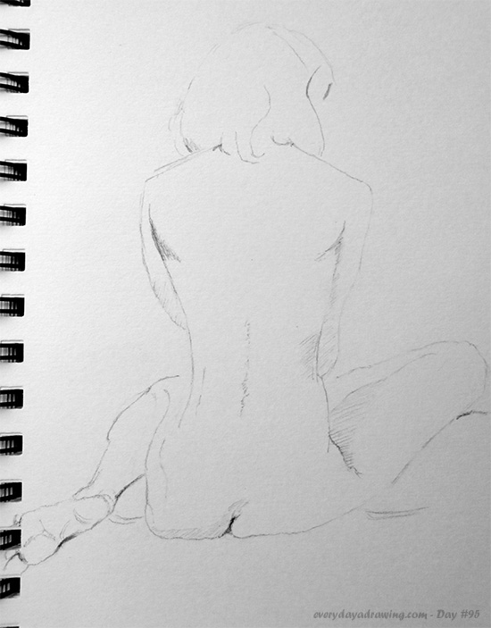 My drawing of Richard Feynman's original 1979 Drawing 'Nude from the rear'