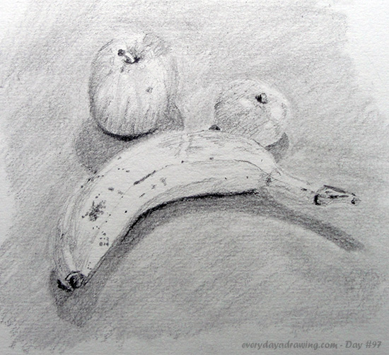 Still life drawing of a banana, apple and tangerine