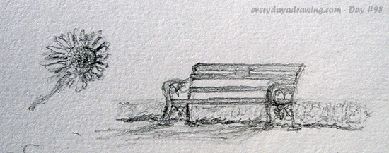 Drawings of a bench and a daisy