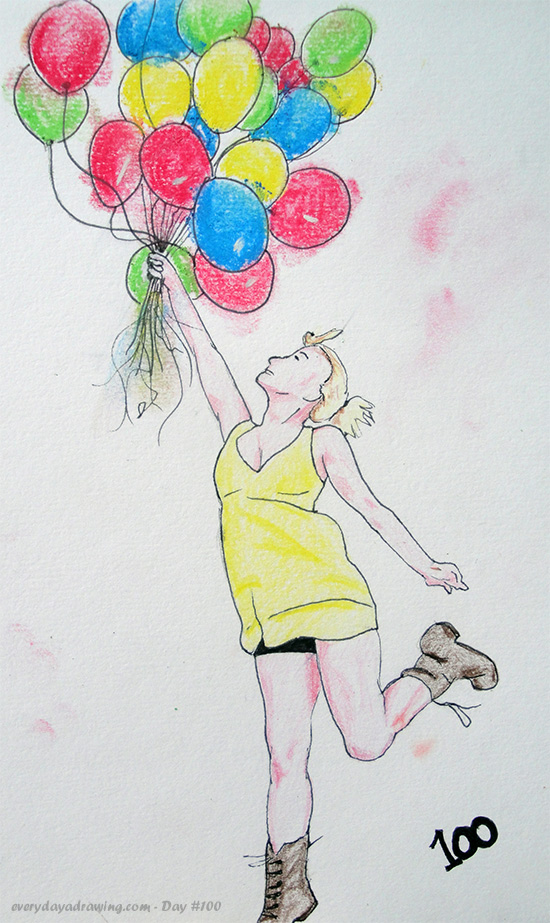 Balloon Girl Drawing in Colour