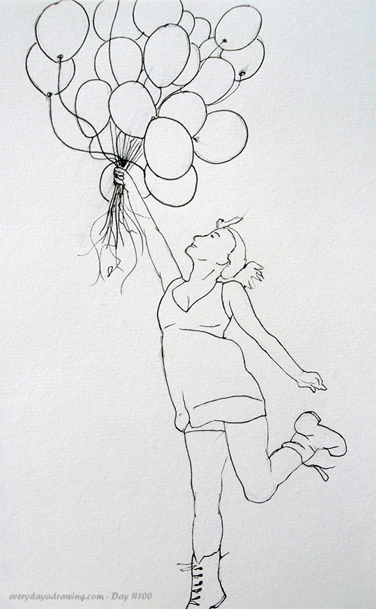 Balloon Girl Drawing in Ink