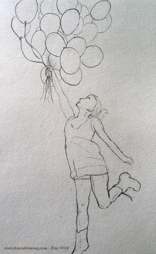 Day 100 Balloon Girl Drawing In Colour Every Day A Drawing