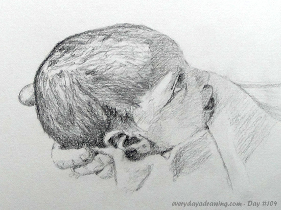 Drawing of my daughter Maia, 3 days old