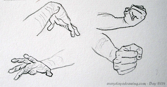 how to draw hands in different positions