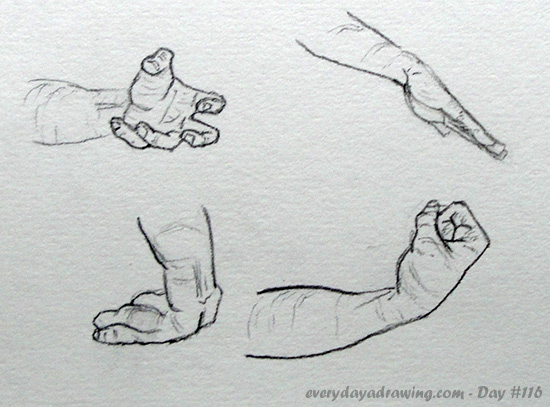 Four more drawings of hand positions