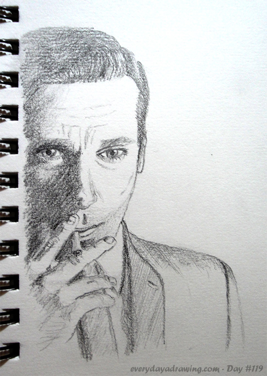 Drawing of Don Draper of Mad Men