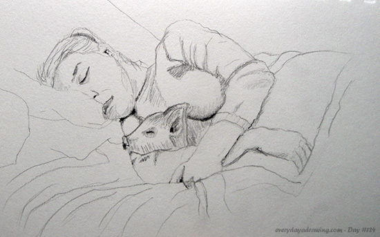 Drawing of Reddit user Adderas's girlfriend in bed with a pig!!!