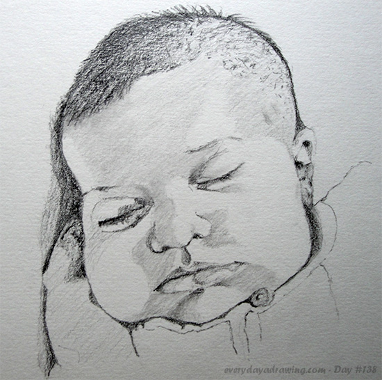 Drawing of baby Maia sleeping on her 5 week birthday!