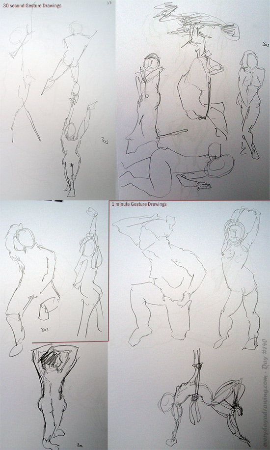 1 minute and 30 second figure drawings