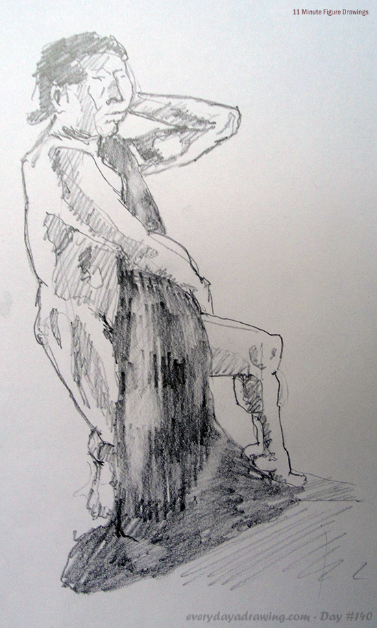 Drawing of Man with Towel taking 11 minutes