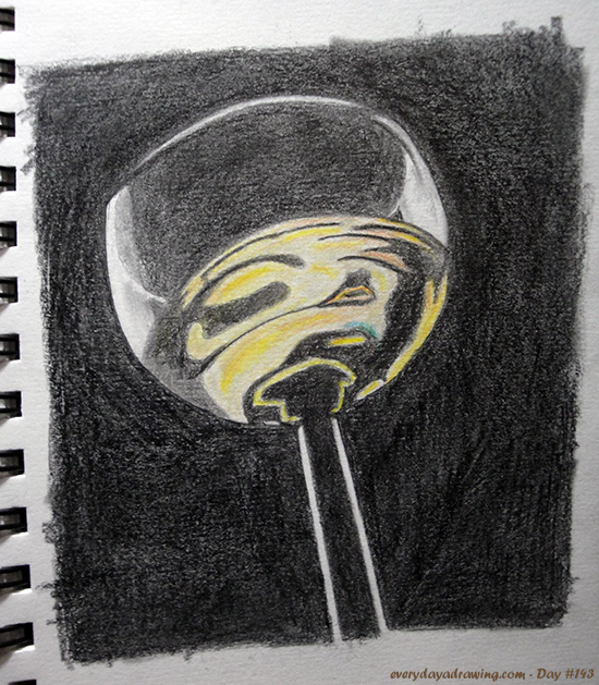 Colour Pencil drawing of a Wine Glass