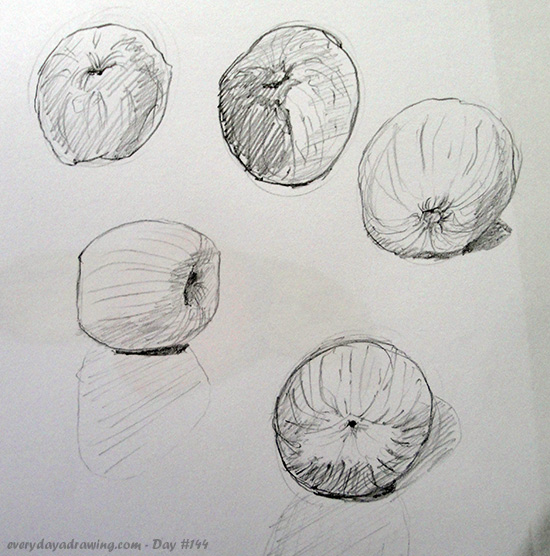 Some Gesture Drawings of an Apple