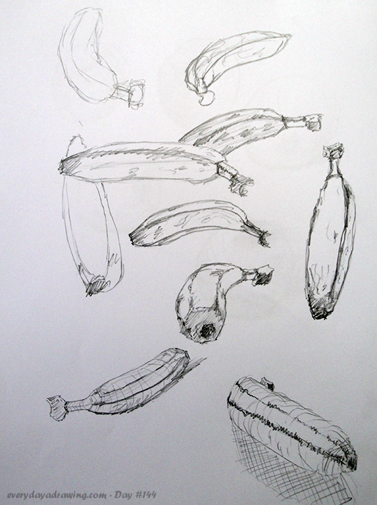 Some gesture drawings of a banana