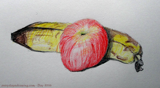 Colour Pencil Drawing of an Apple and Banana Still Life