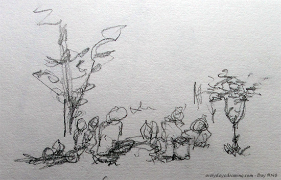 Drawing of a group of people sat down away from us