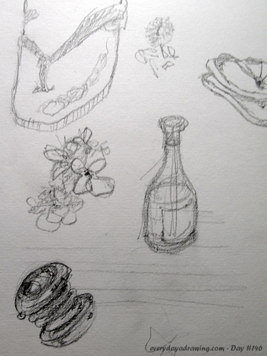 Drawings of objects we brought with us or were growing around us