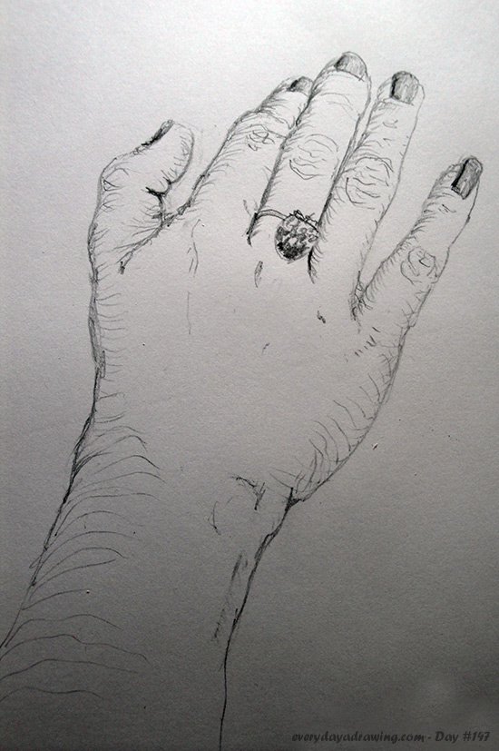 Drawing of a female hand
