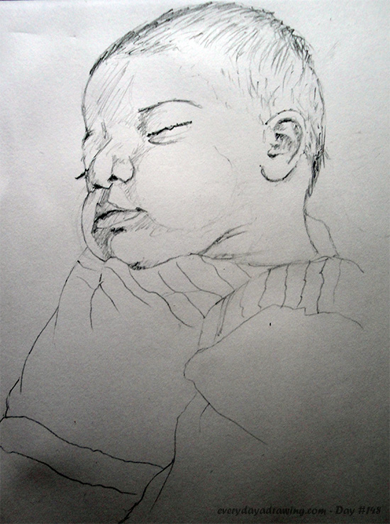 Drawing of baby Maia asleep again
