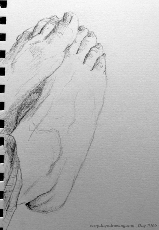 Feet drawn from life