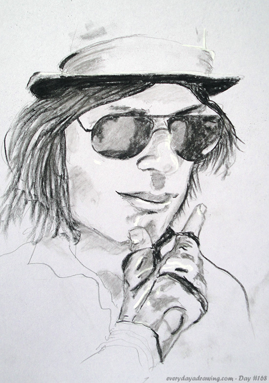Charcoal drawing of Reddit user GJab