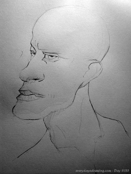 Drawing of a bald man