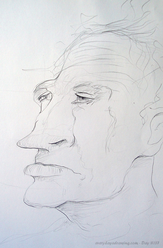 Drawing of a man with a pointy nose