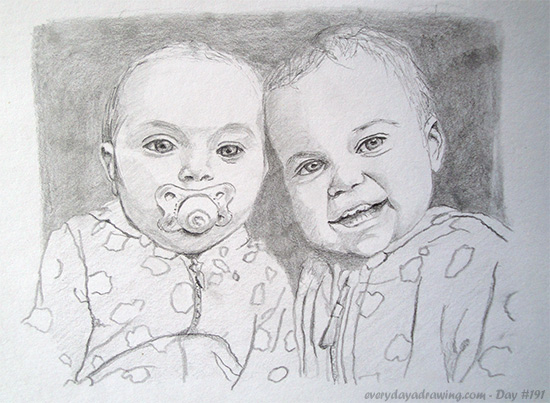 Commission drawing of two children