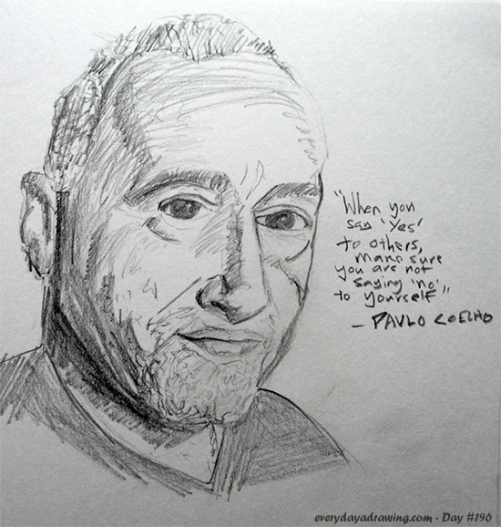 Paulo Coelho Drawing and Quote